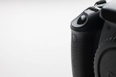 close-up of a dslr shutter release button on isolated background