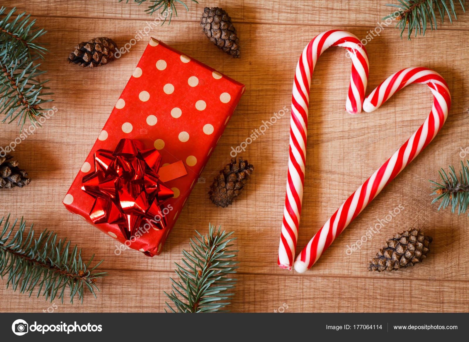 Año Nuevo Árbol Navidad Conos Regalo Paquete Piruletas Plantilla ...