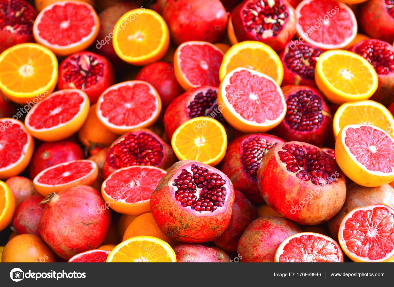 composition juicy fruits pomegranate orange grapefruit stock photo