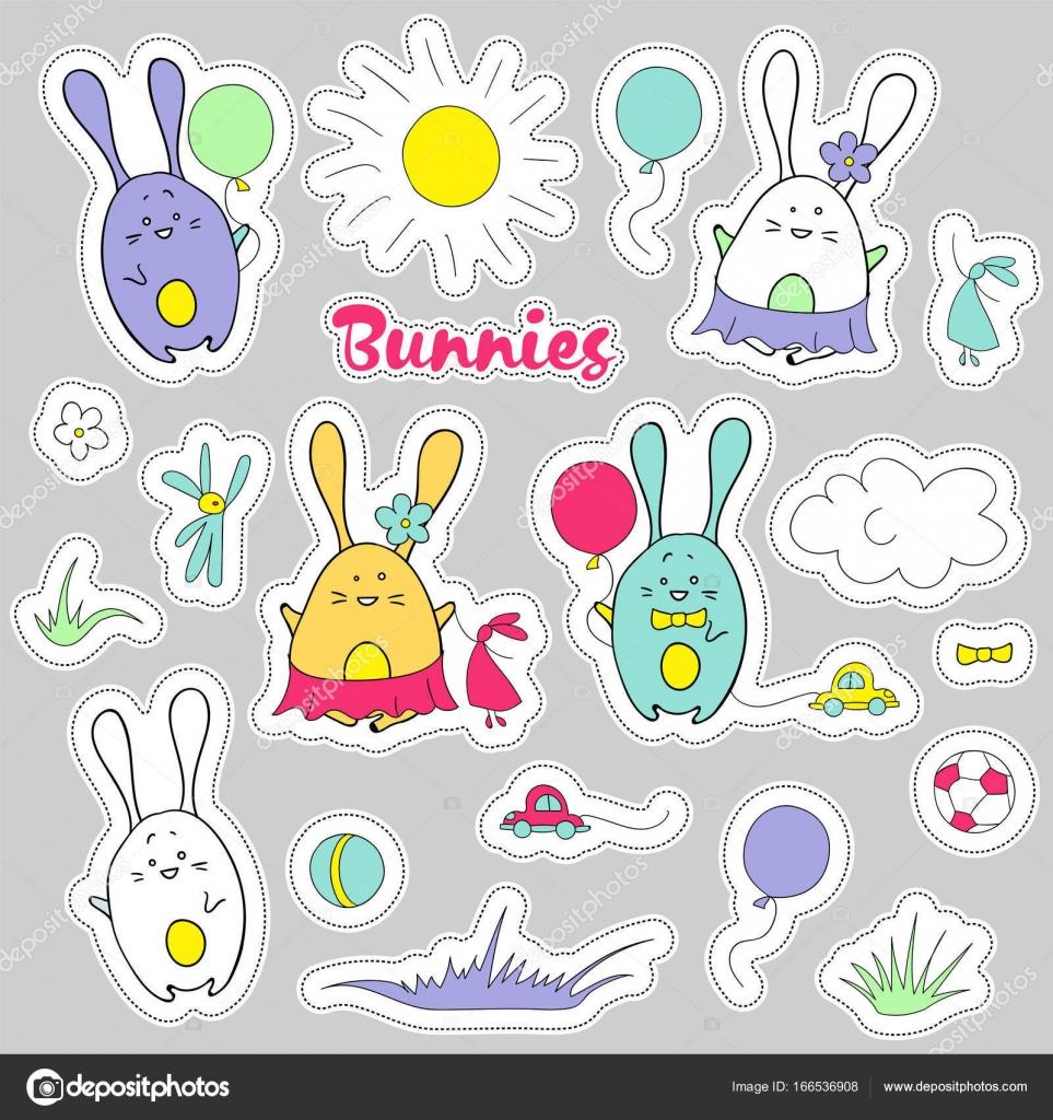 Pegatinas vector lindo de conejos Elementos de dise o de beb