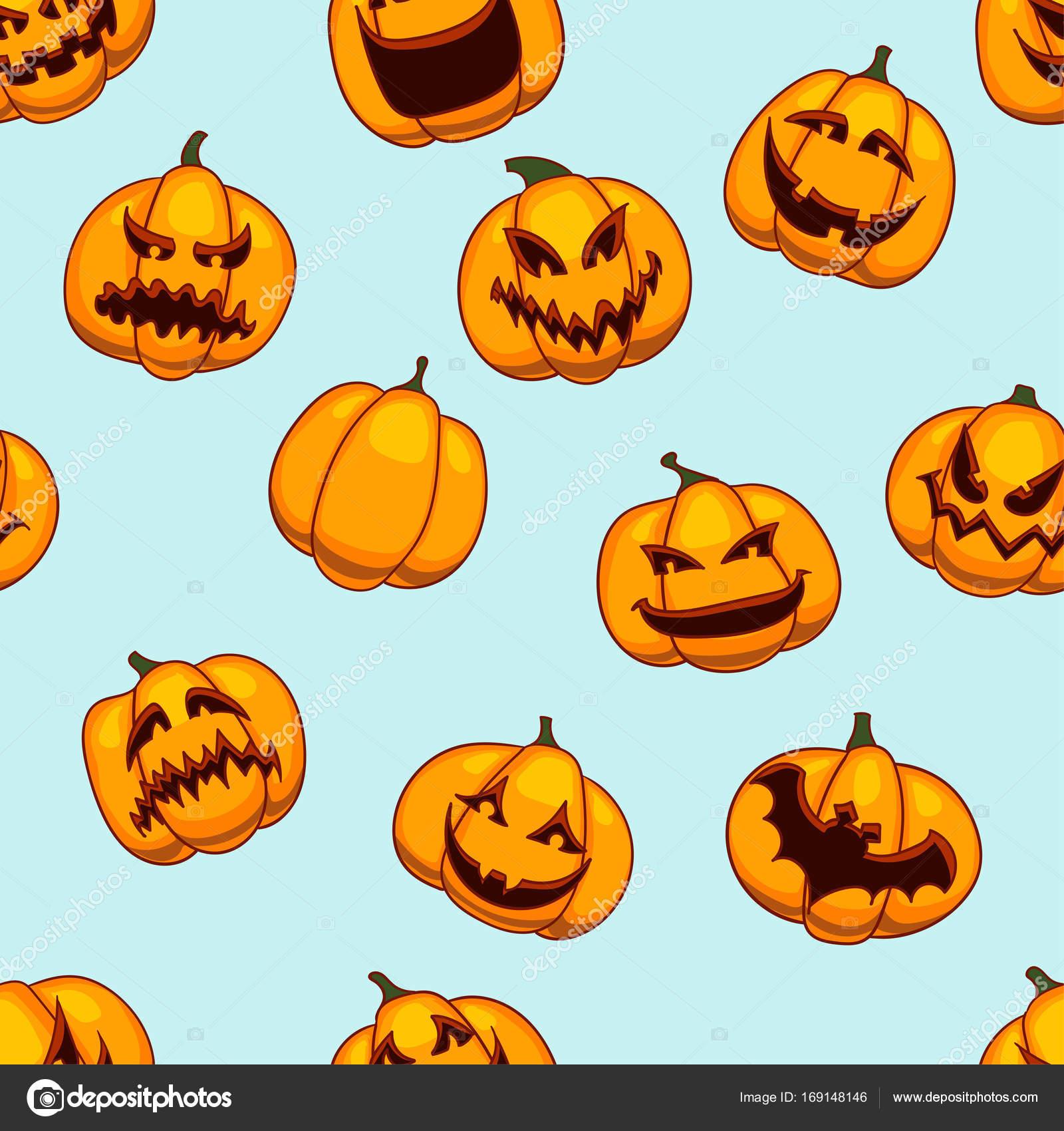 Zucche Di Halloween Cartoni Animati.Reticolo Senza Giunte Di Halloween Texture Di Zucche Divertenti