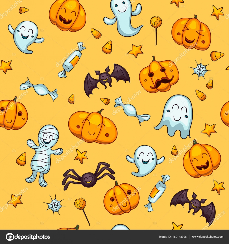 Halloween Seamless Vector Pattern One Of Big Collection Of Design