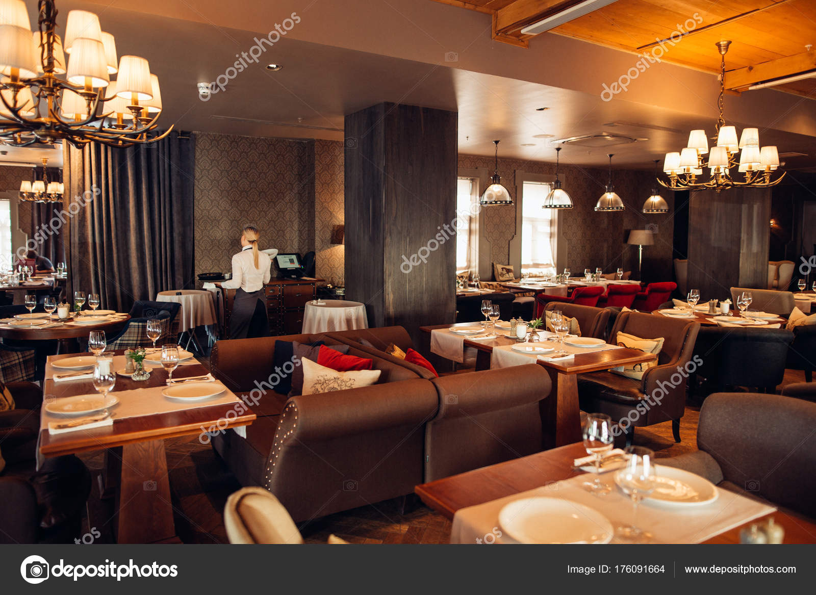 Modern And Simple Cafe Interior With Wooden Classical Furniture Stock Photo C Ufabizphoto 176091664