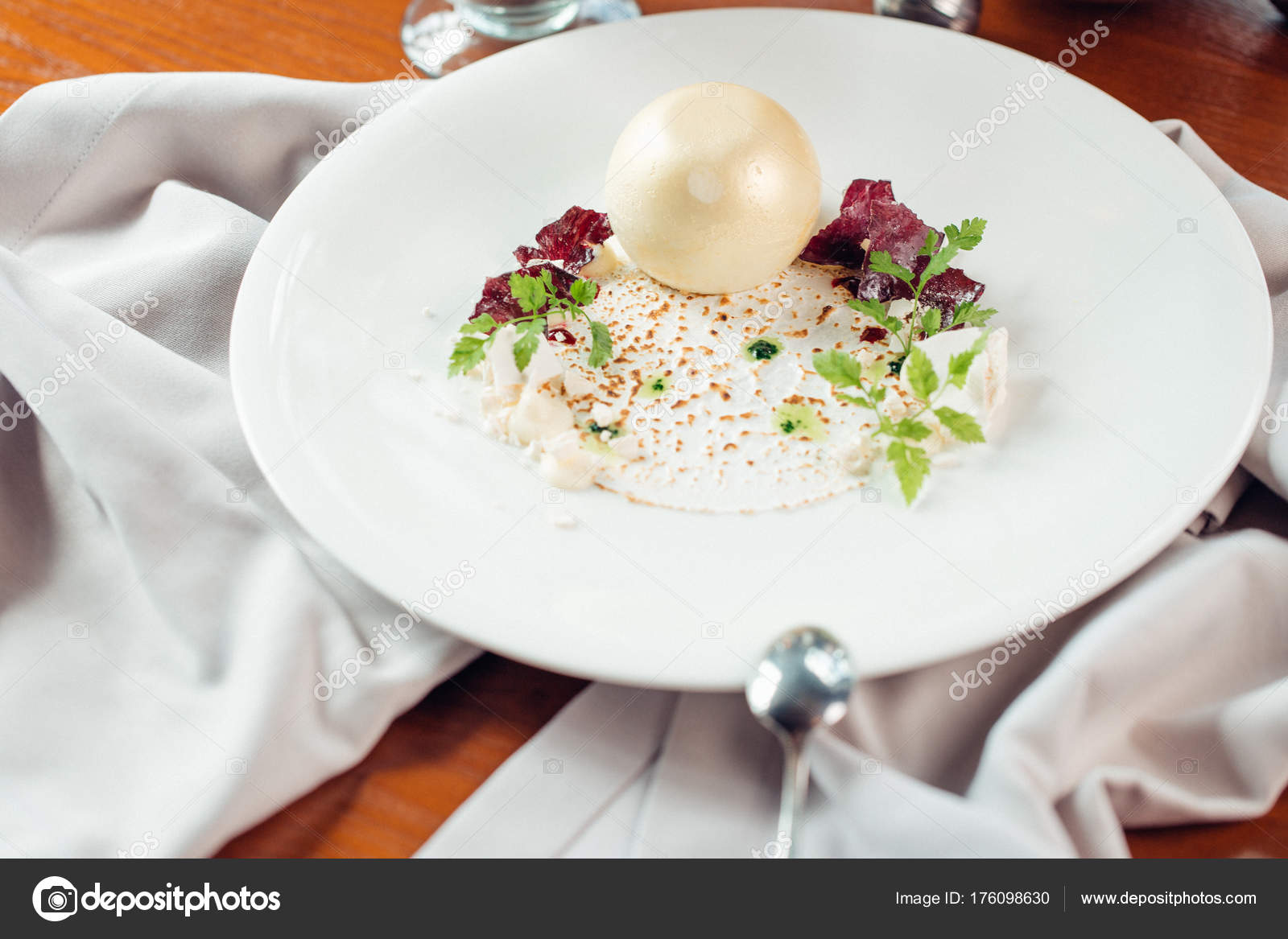 Close up de uma sobremesa deliciosa gastronomia molecular for Postres de cocina molecular