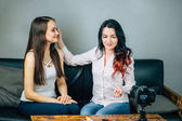 two young womans reviewing beauty products on video blog at home