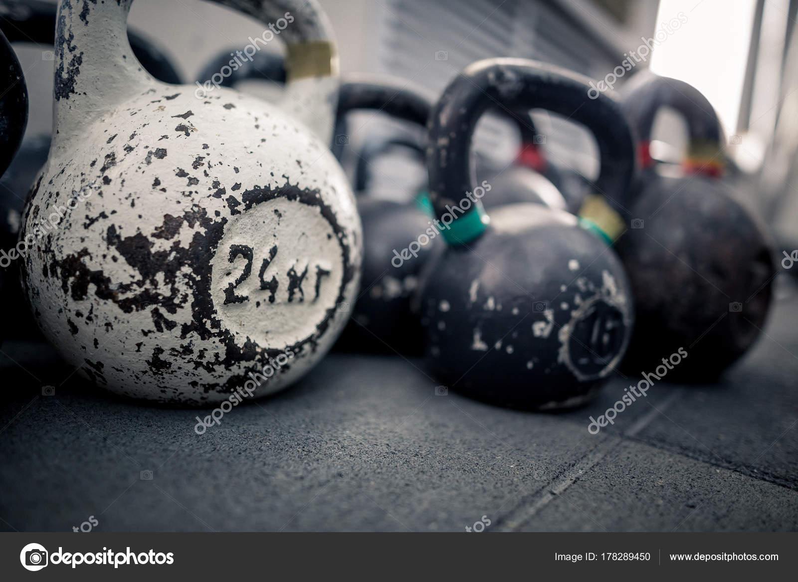 Sportgerate Im Fitnessraum Kettlebell Auf Boden Hintergrund