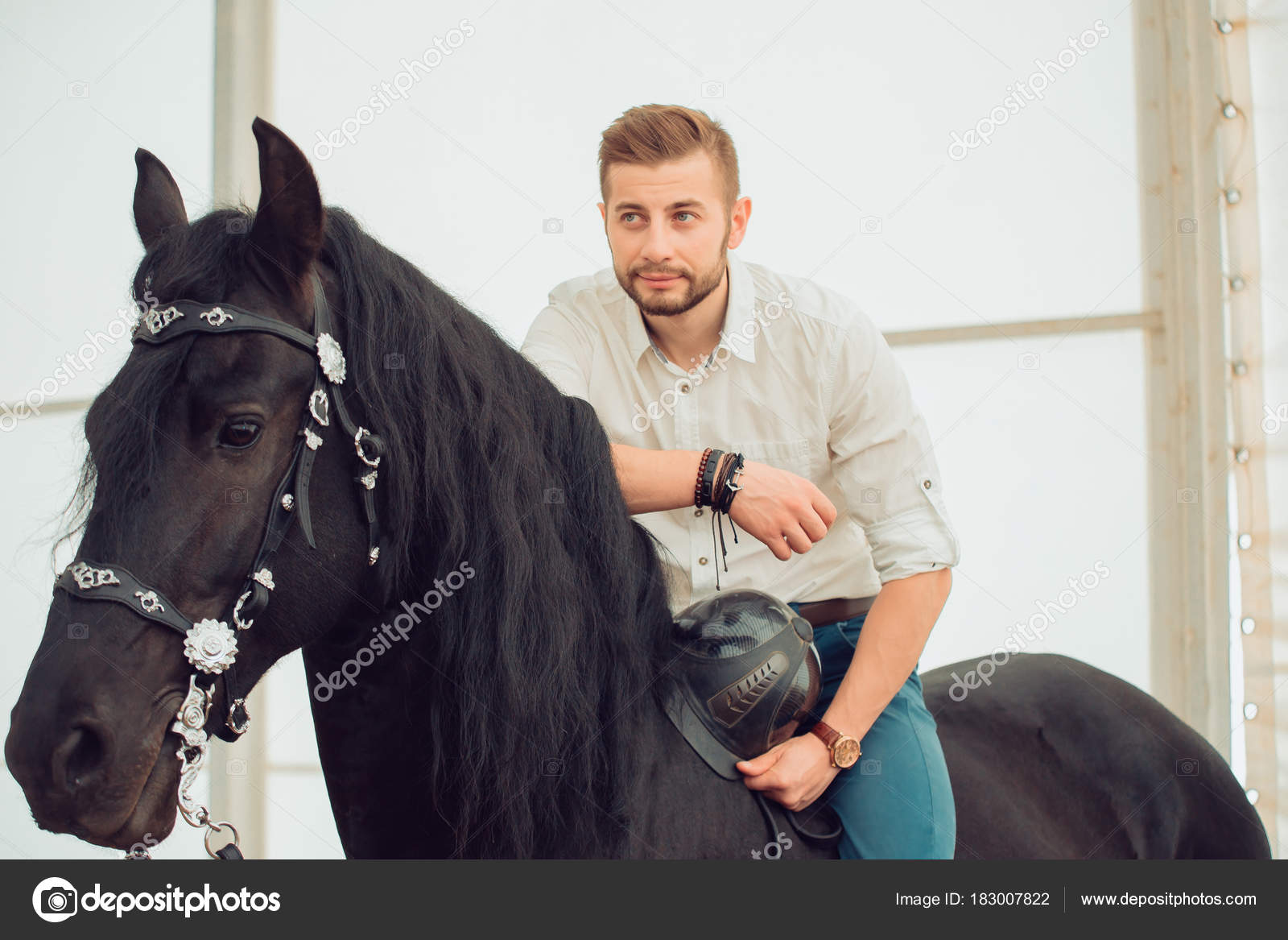 Male Model Horse Stock Photos Royalty Free Male Model Horse Images Depositphotos