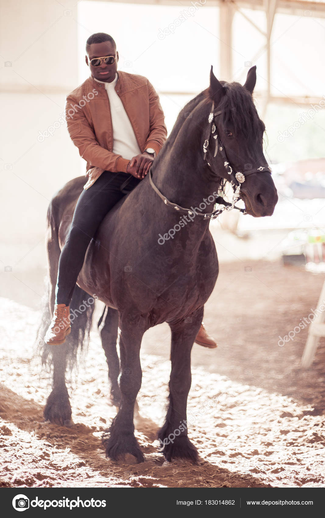 Man Riding Brown Horse On Countryside Stock Photo C Ufabizphoto 183014862