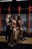 Skupina ženské a mužské dospělí seděli na box jako dobří přátelé v tělocvičně