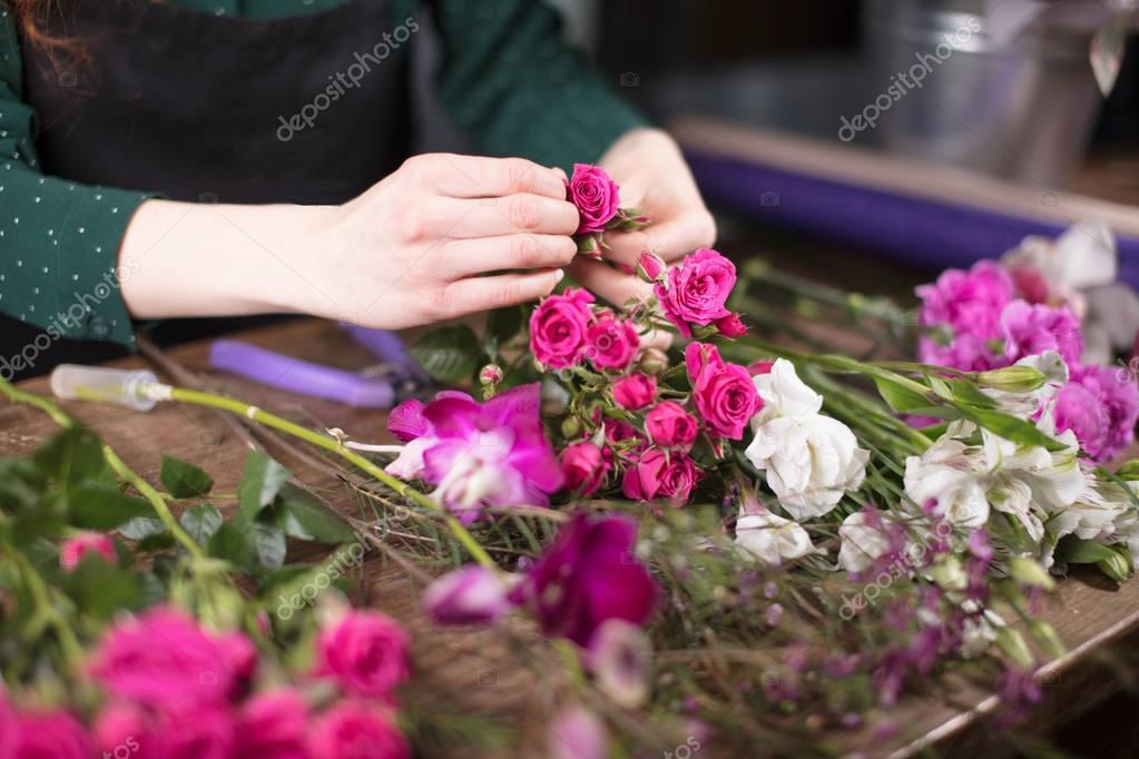 closeup image of flowers indoor. Young woman holding wonderful flowers