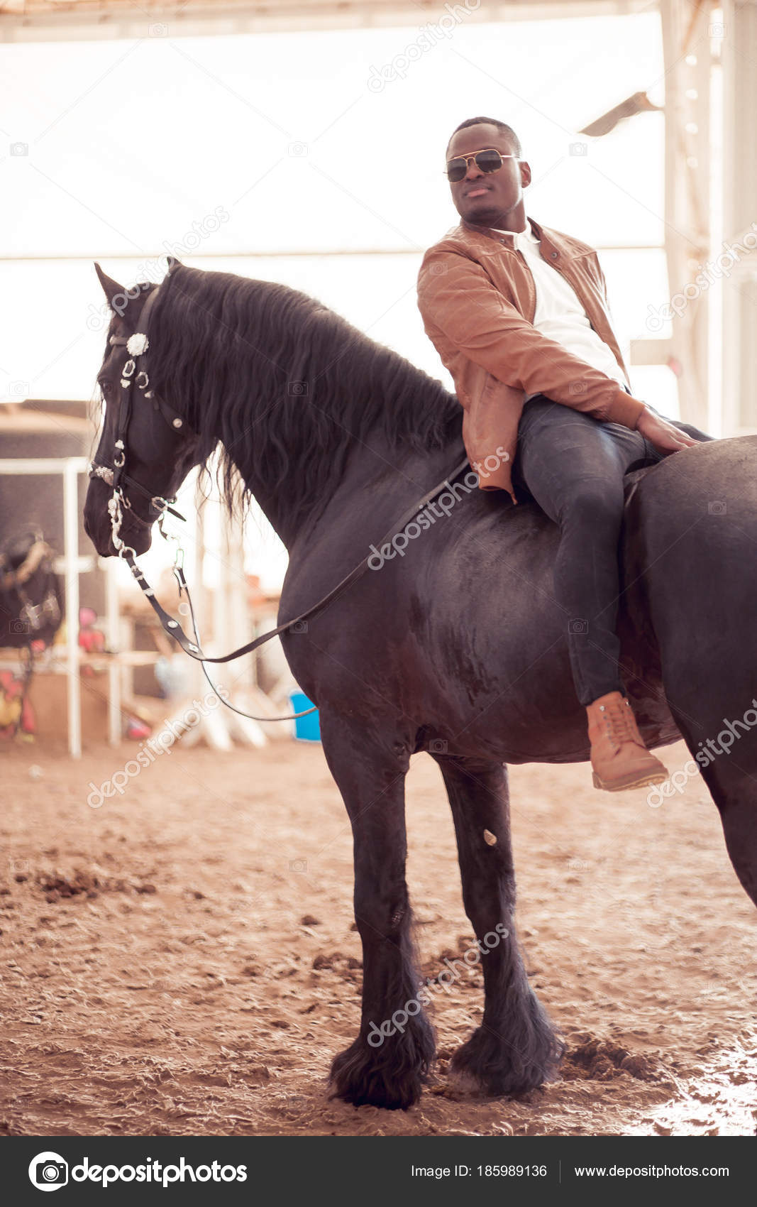 Man Riding Brown Horse On Countryside Stock Photo C Ufabizphoto 185989136