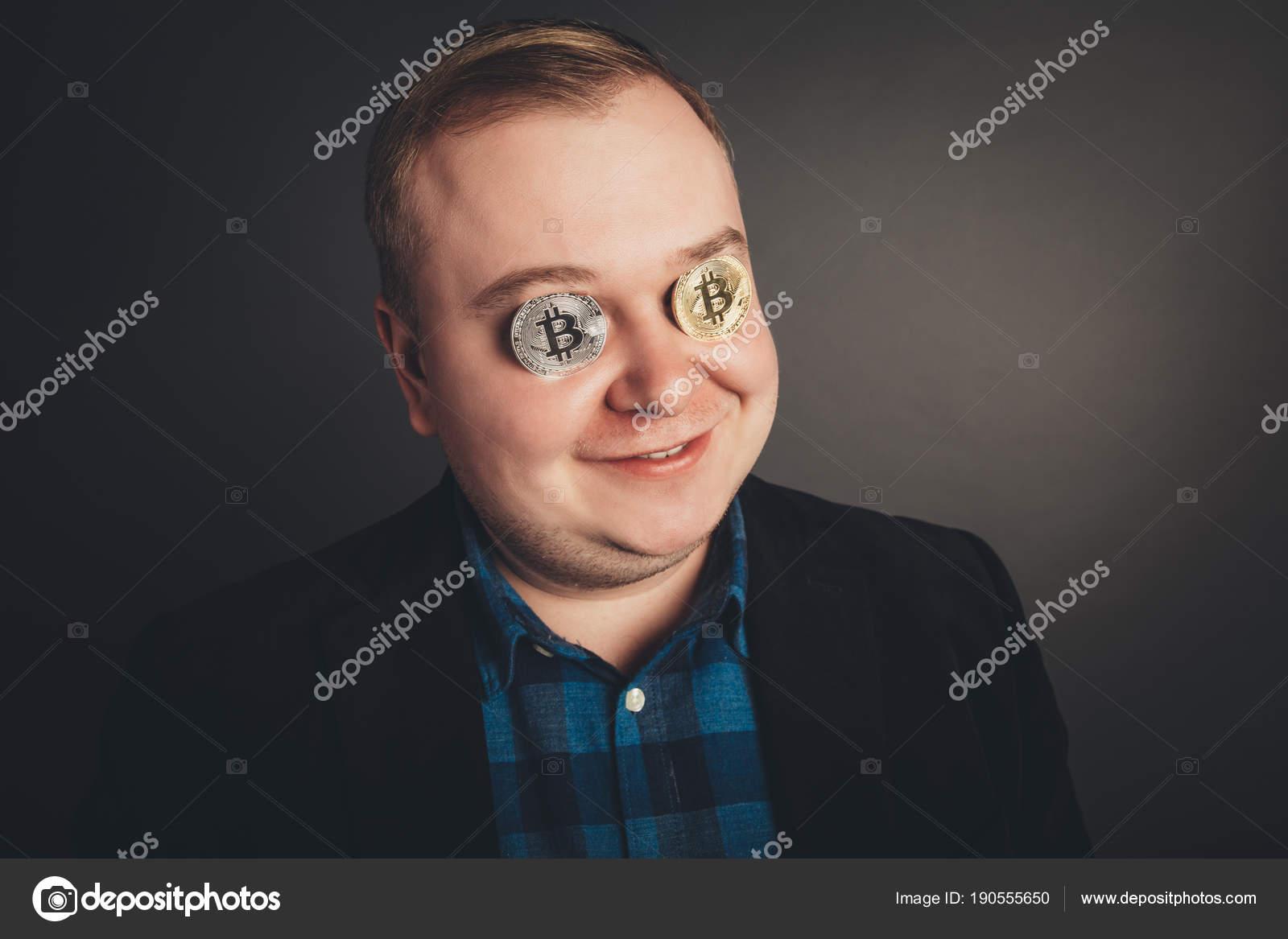 Bitcoin Männliche Liebhaber Mit Goldenen Münze Von Augen