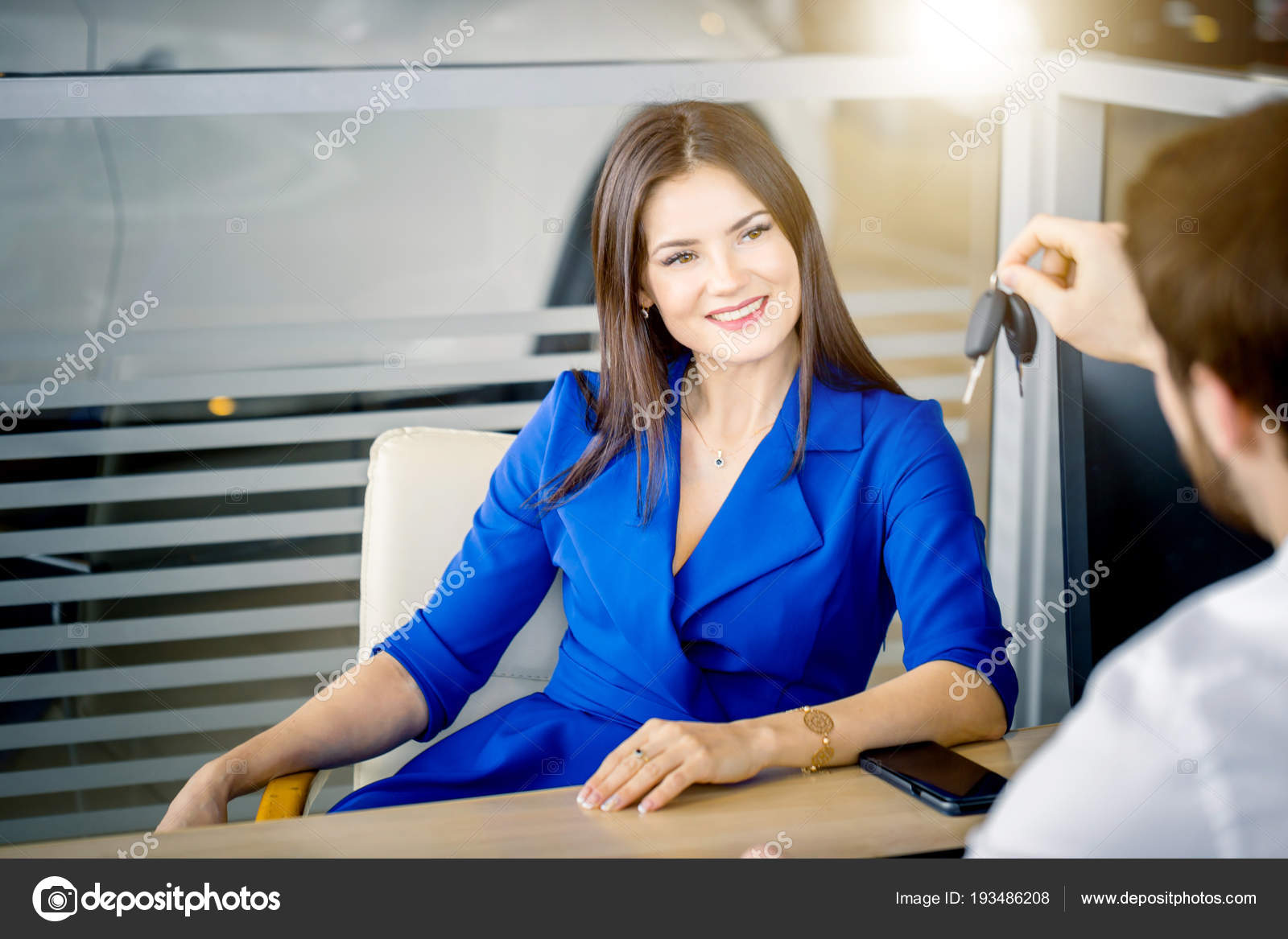 Attractive European Woman Receiving Car Keys From Car Sales Agent Stock Photo C Ufabizphoto 193486208