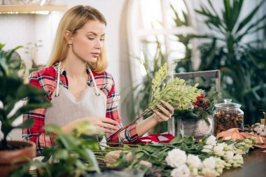 woman florist, small business owner checking her fresh flowers, plants stocks and inventory