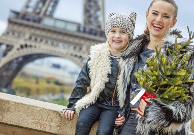 mother and daughter with Christmas tree in Paris, France