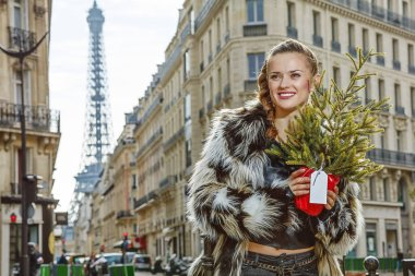 modern woman with Christmas tree in Paris looking into distance