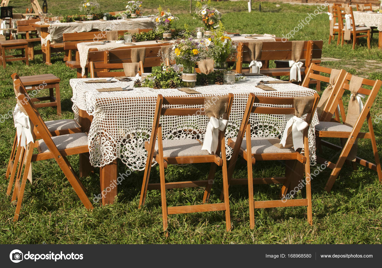 Beau Stacked Tables For Guests For Wedding U2014 Stock Photo