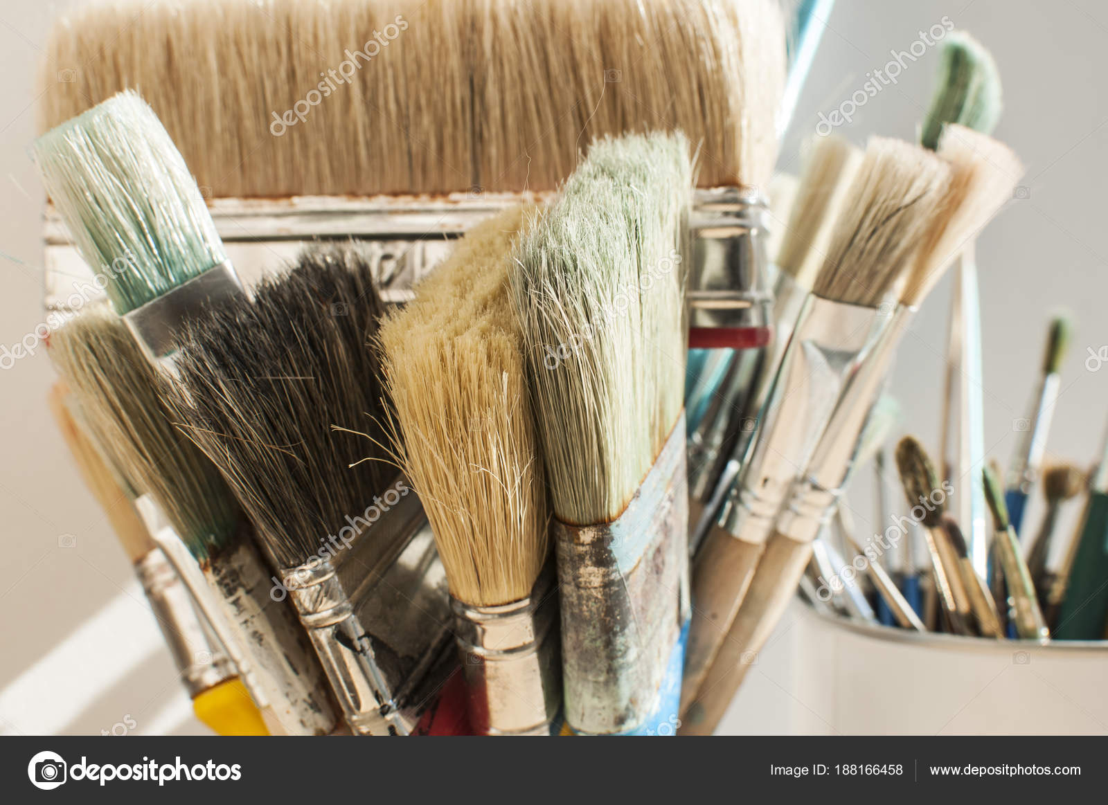 Bunch Different Types Paint Brushes Closeup Sunny Day Stock Photo