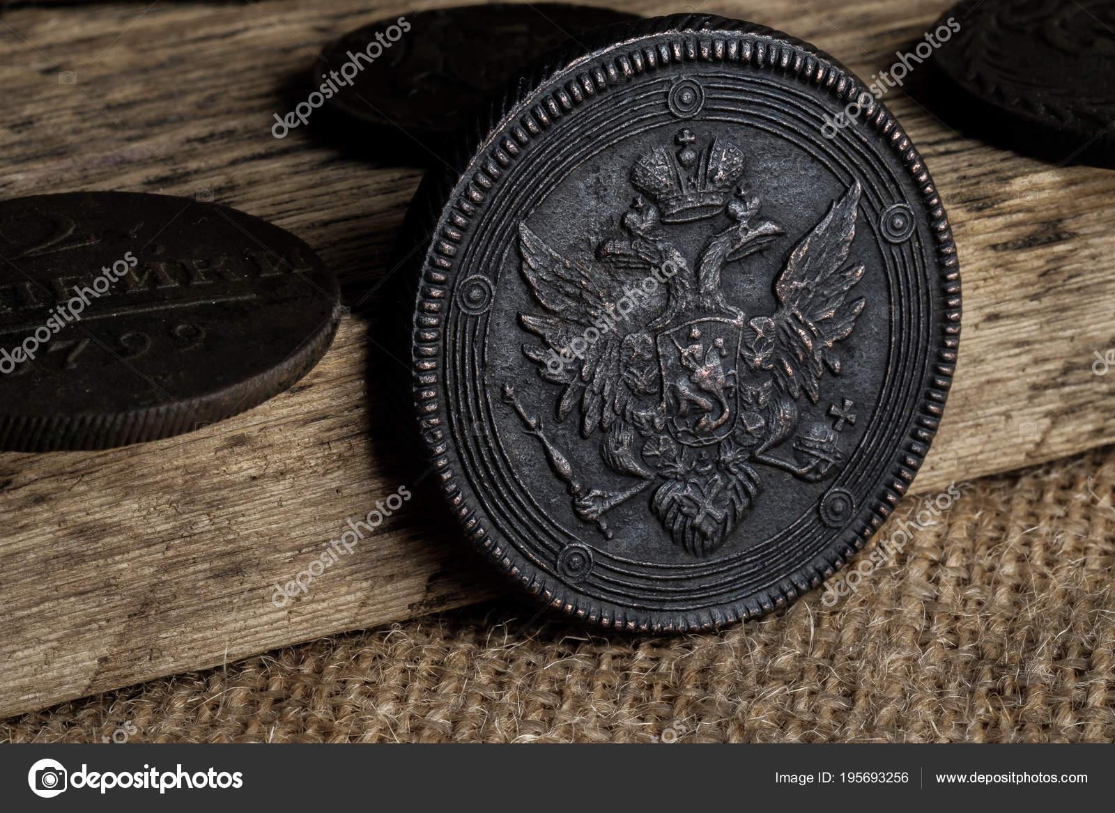 Alte Münze Mit Einer Doppelköpfigen Adler Kupfer Münze Von Russland
