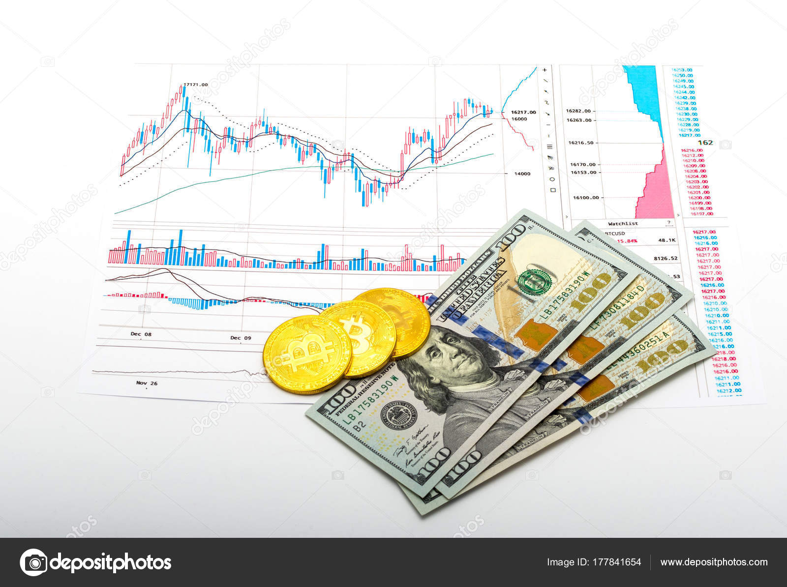 Bitcoin Growth Chart And Real Money Stock Editorial Photo Mr
