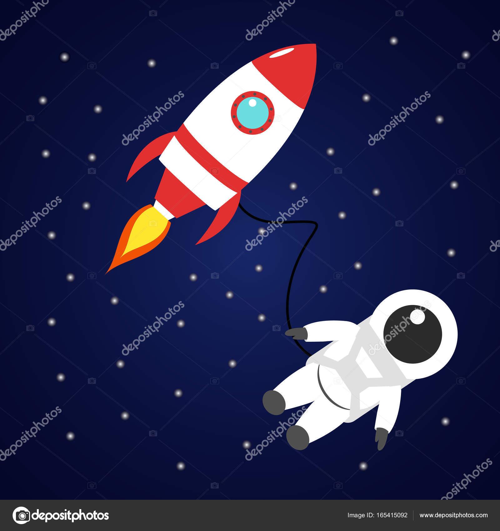 Razzo rosso e astronauta nello spazio u vettoriali stock