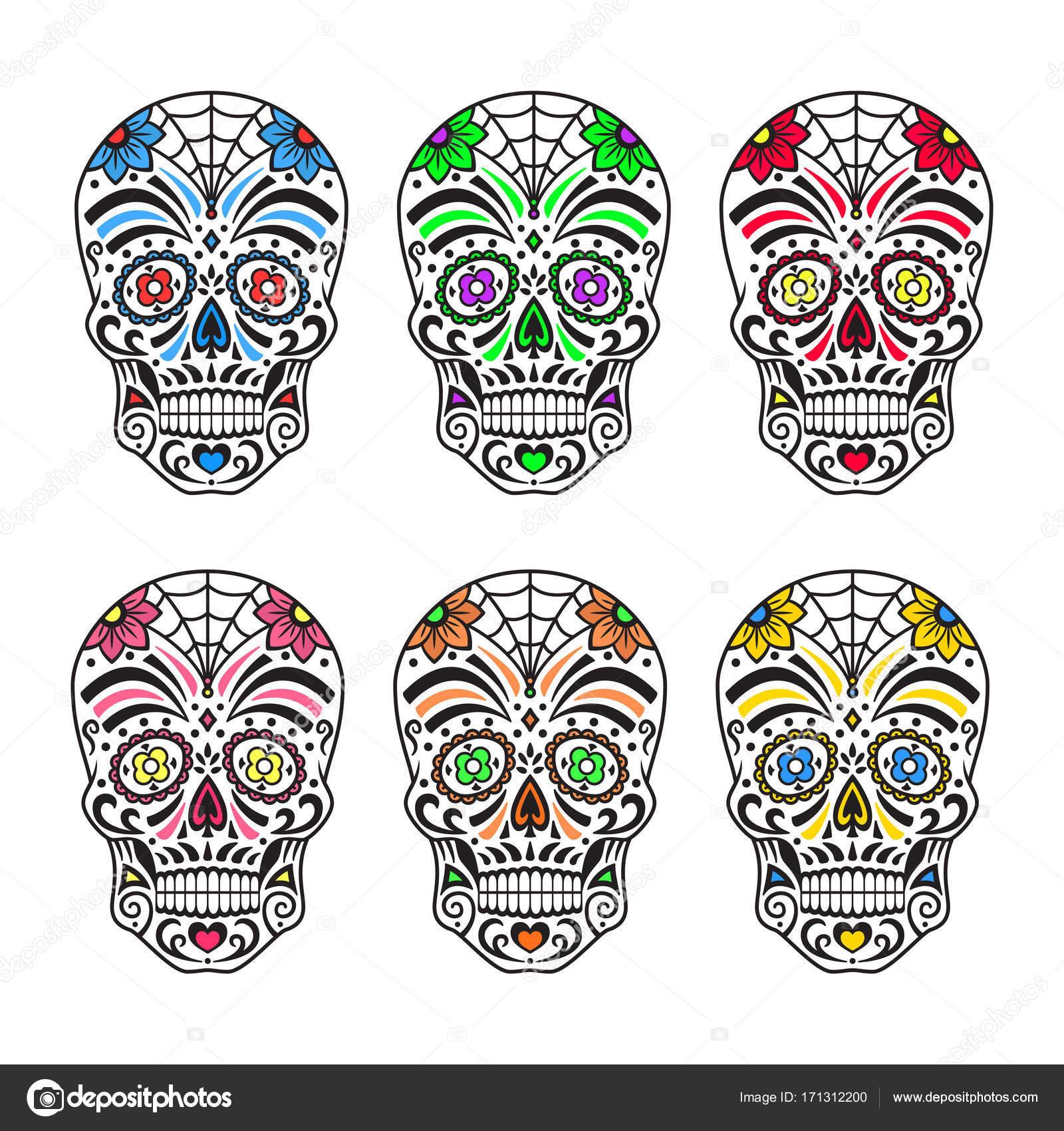 Dibujos Calacas Mexicanas Calaveras De Azúcar Coloridos Tatuajes