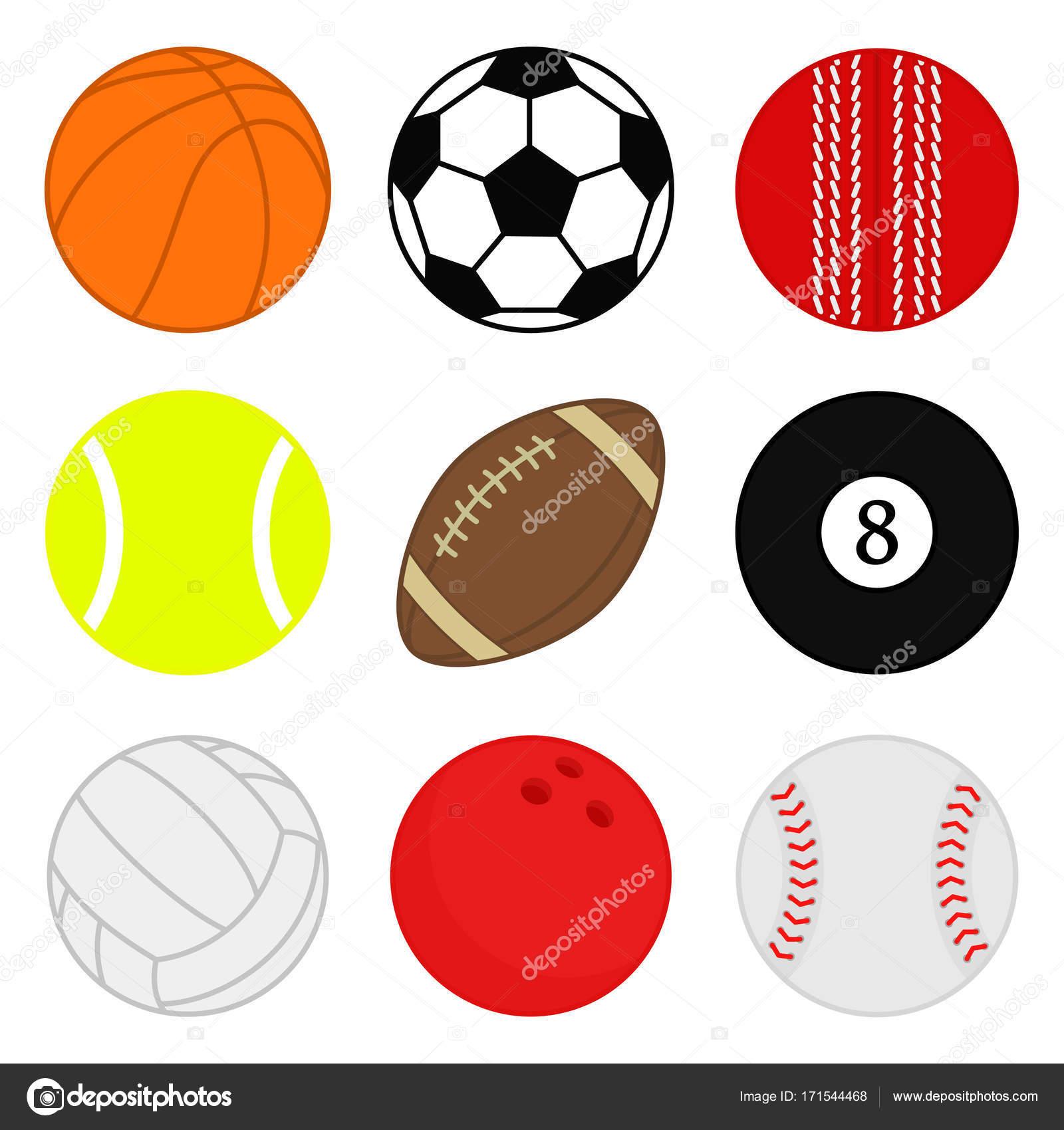 9bf2fe70f65 Pelotas de deportes vector conjunto. Dibujos animados iconos de bola.  Colección de bolas de colores. Ilustración de vector. Estilo plano -  dibujos: bolas de ...