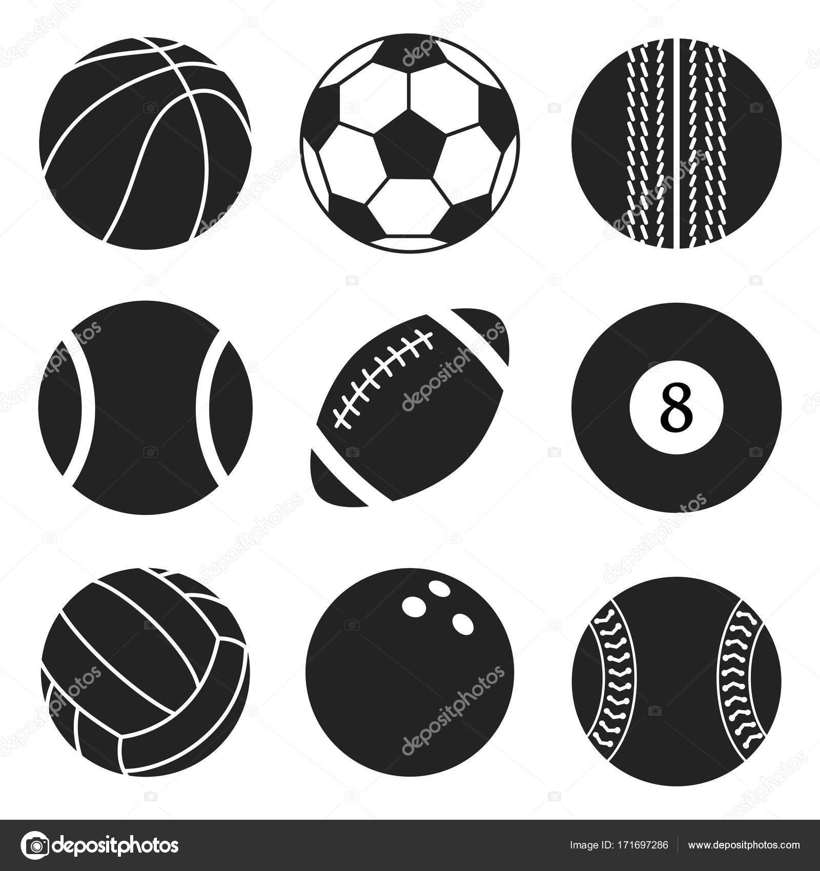 Ballons De Sport Vecteur Ensemble Icônes De Dessin Animé De Ballon