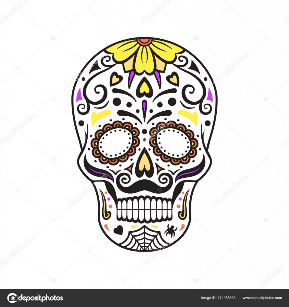 Zucker Schädel. Bunte Tattoo. Mexikanischen Tag der Toten. Vektor ...
