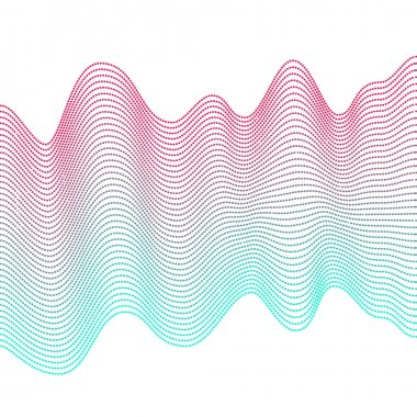 Smooth colorful waves on white background. Abstract vector dotted lines. Blend effect. Pink and blue wave