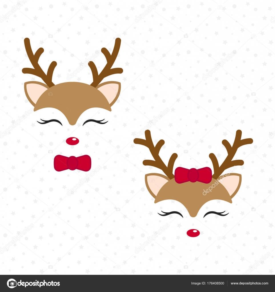 Cute Reindeer Baby Deer Merry Christmas Cartoon Character
