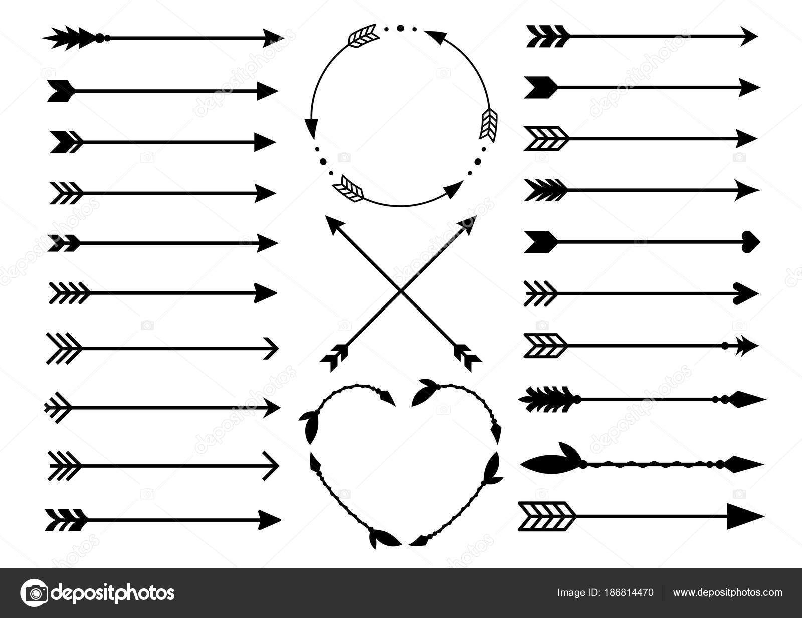 Hipster Arrows In Boho Style Tribal Set Of Indian Vector Collection By Chereliss