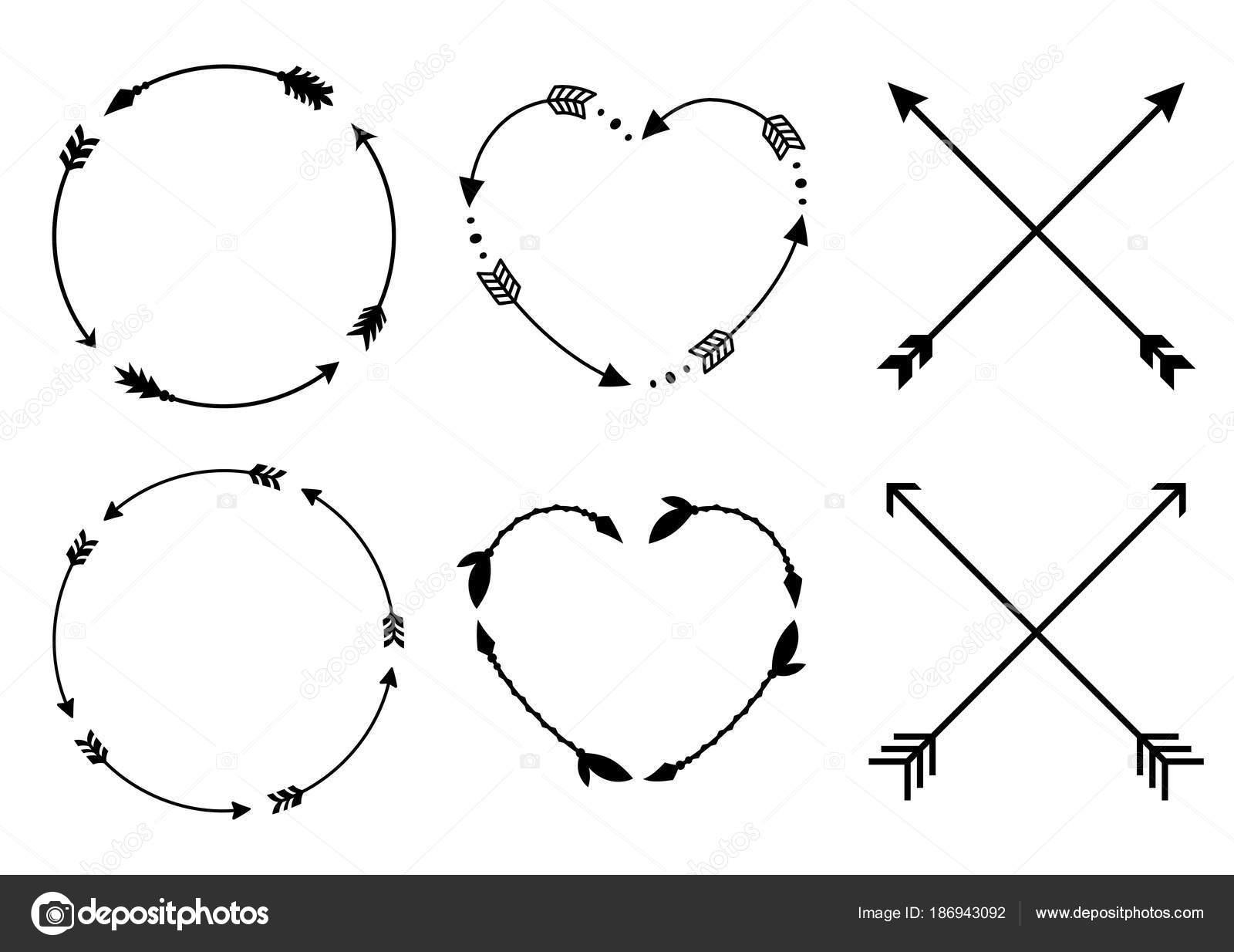 Kreis und Herz Pfeil Rahmen für Monogramme. Criss cross Hipster ...