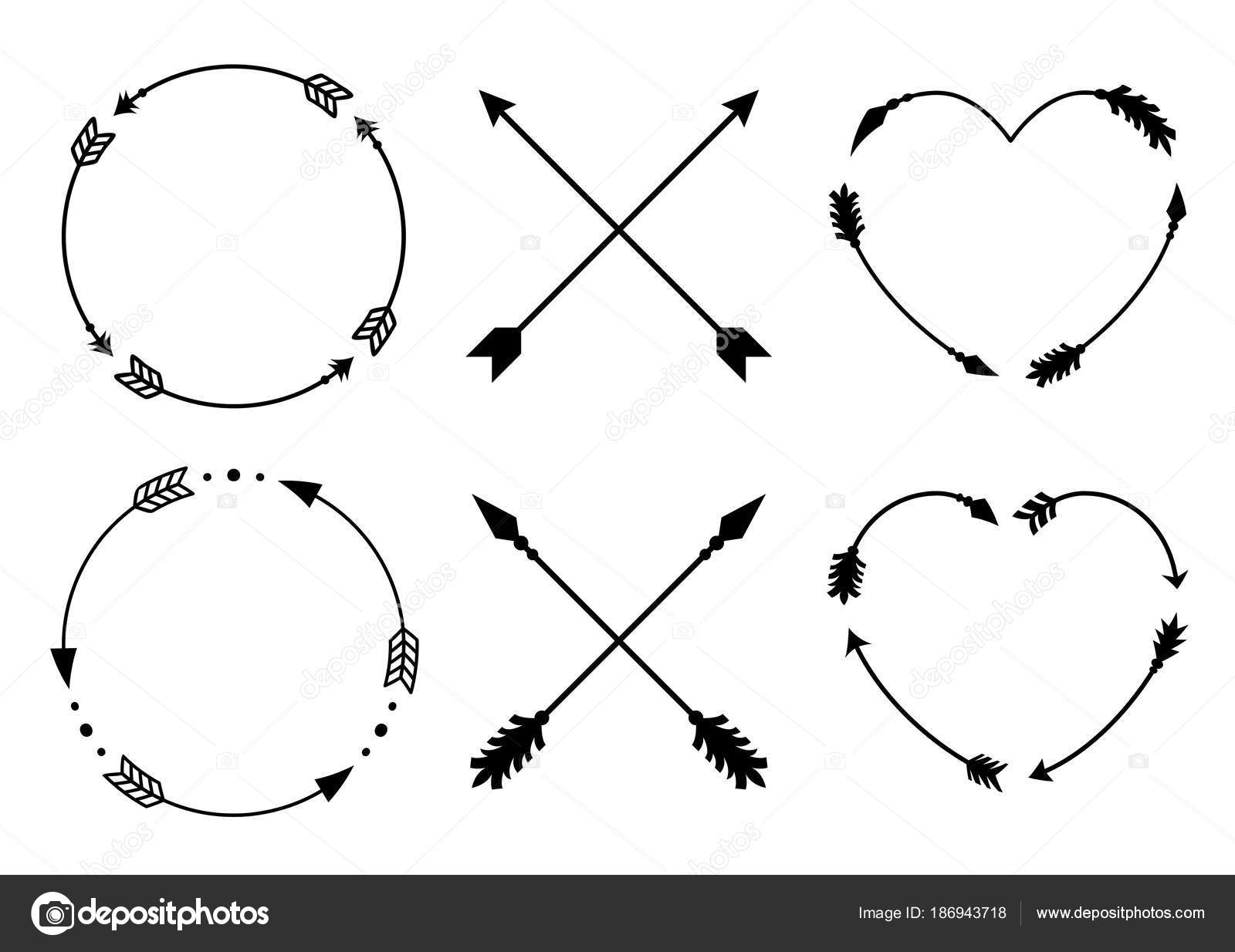 Circle and heart arrow frames for monograms. Criss cross hipster ...