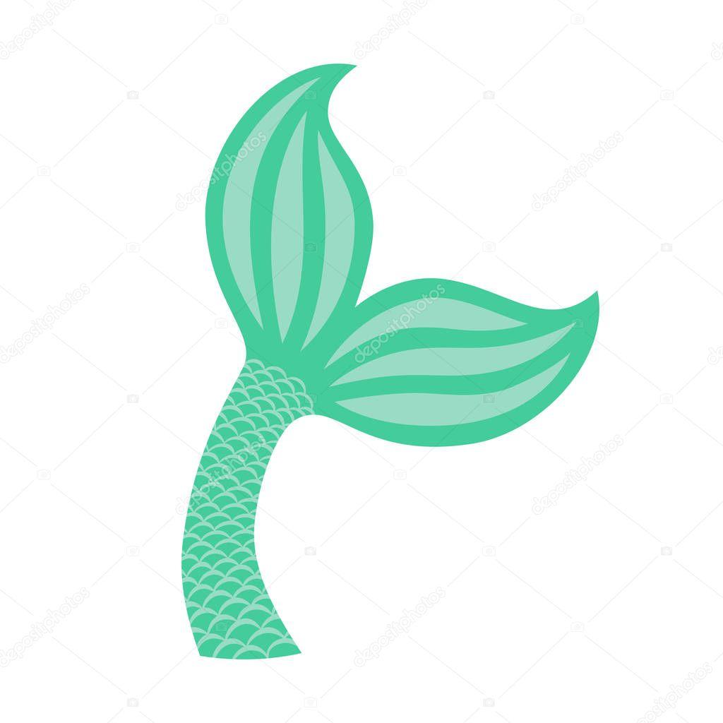 Cauda De Sereia. Silhueta De ícone De Cauda De Baleia