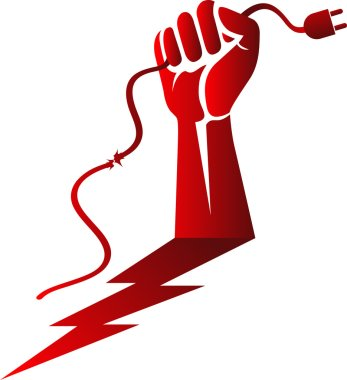 power cable hand risk logo