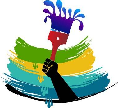hand paintbrush logo