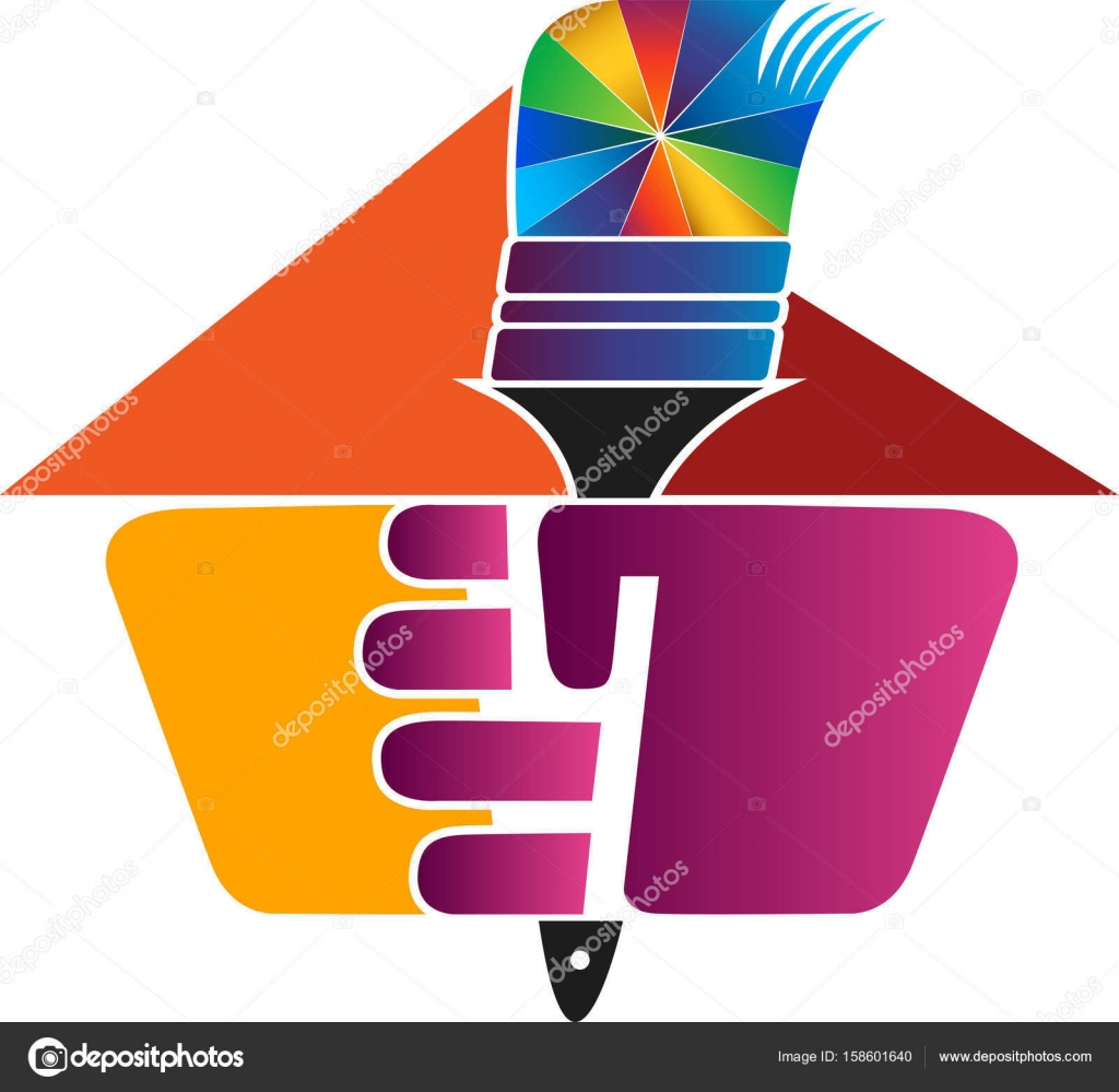 hand paint brush logo � stock vector 169 magagraphics 158601640