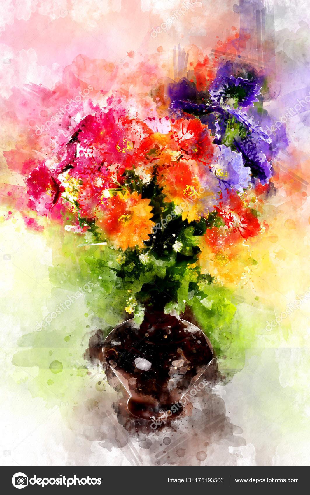 Peinture Couleur Eau Dans Pot Fleur Photographie Magagraphics
