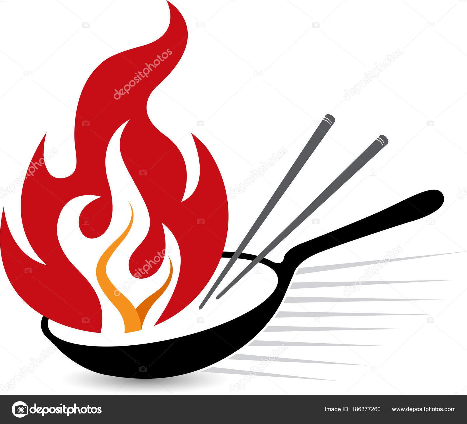 illustrationskunst flamme pfanne logo mit isolierten