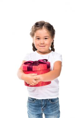 asian child with gift box