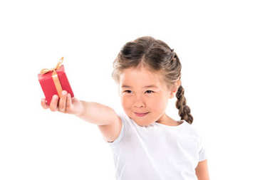asian kid with gift box