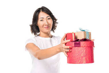 woman with red gift boxes