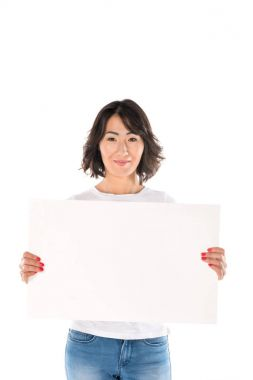Beautiful happy asian woman with empty board, isolated on white stock vector