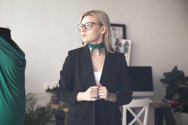 beautiful young fashion designer