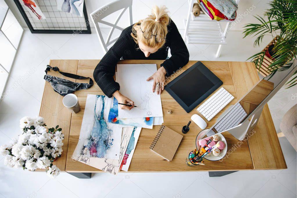 fashion designer working in office
