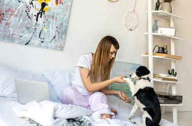 portrait of woman in pajamas playing with puppy in morning at home