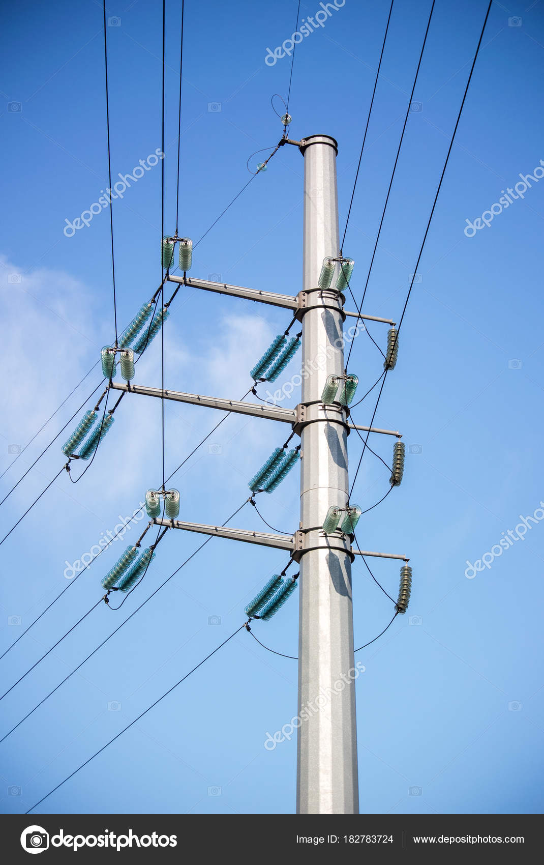 Power Line Post Sky Clouds Background Vertical Photo — Stock Photo ...