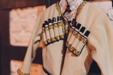 Detail of the national costume of the Caucasian Highlander, pockets for rifle charges, Circassian.