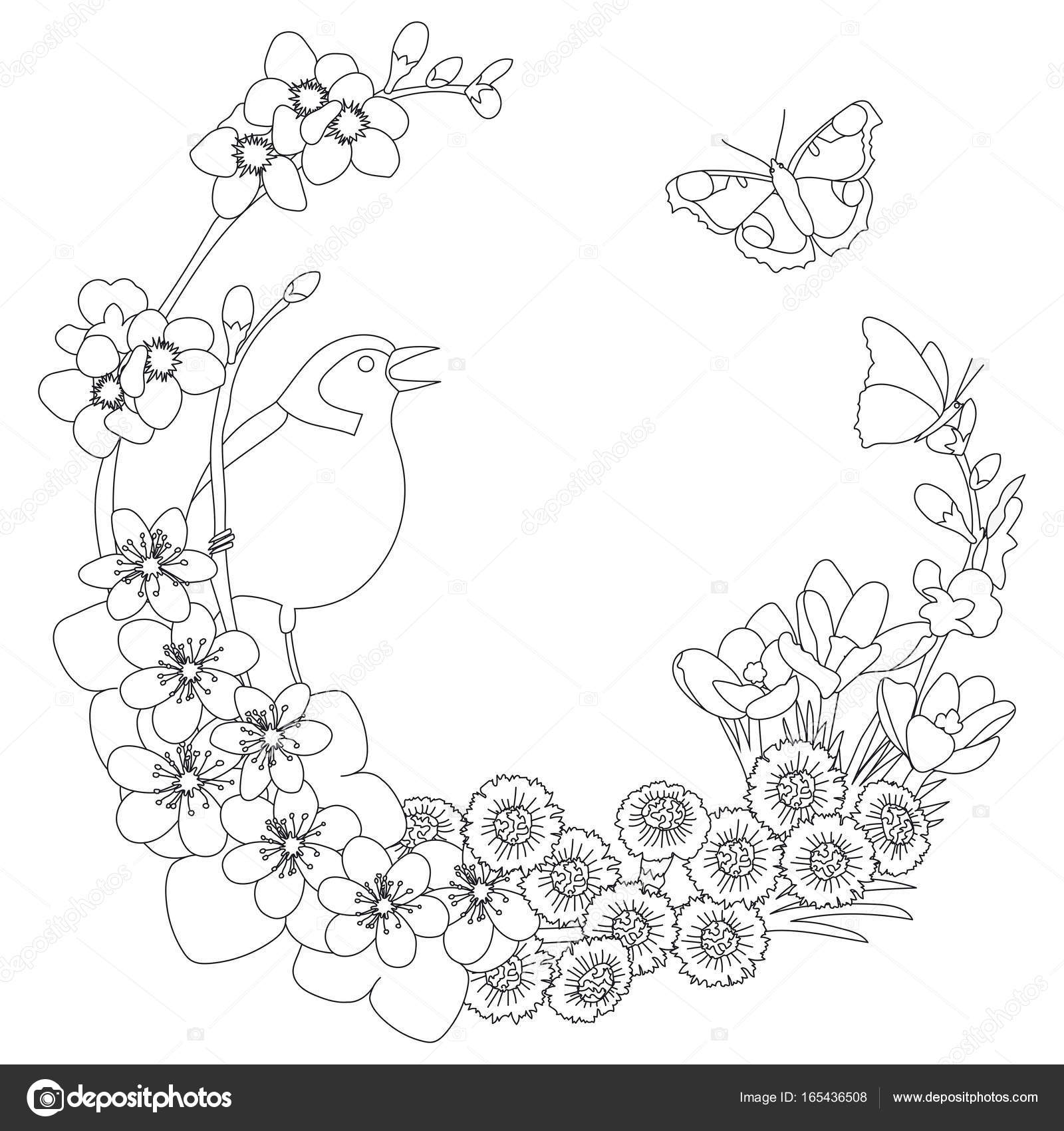 Spring Floral Elegant Wreath Coloring Page Stock Vector C Mushika